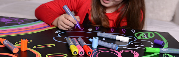 Rainy day activities for kids using chalk markers