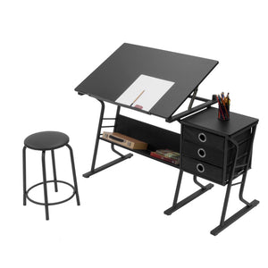 OXNA Drafting Table For Arts And Crafts | Wood | With Storage, Stool & Clips
