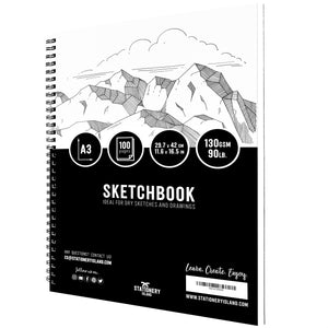 Stationery Island Creative Collection A3 Sketchbook. Spiral Bound Softcover Portrait Drawing Pad with 100 Pages and 130gsm Paper