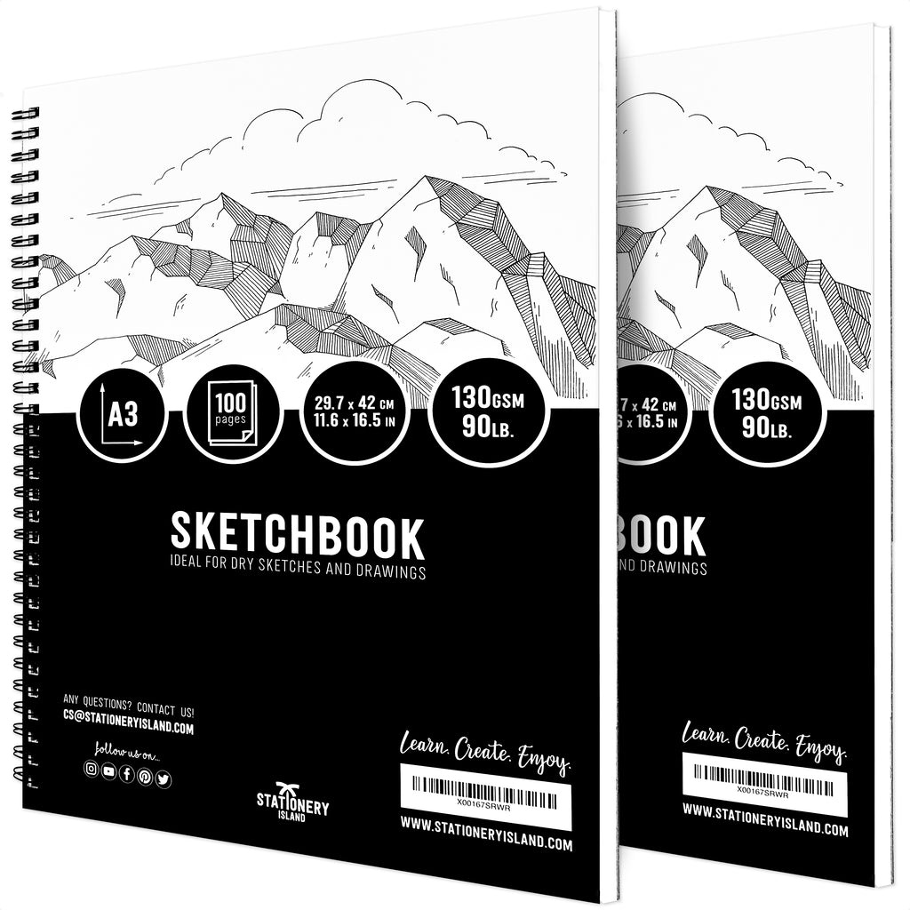 Stationery Island Creative Collection A3 Sketchbook Pack of 2. Spiral Bound Softcover Portrait Drawing Pads with 100 Pages and 130gsm Paper