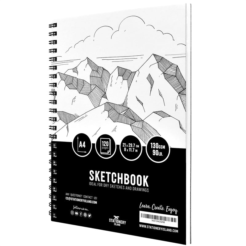 Stationery Island Creative Collection A4 Sketchbook. Spiral Bound Softcover Portrait Drawing Pad with 120 Pages and 130gsm Paper