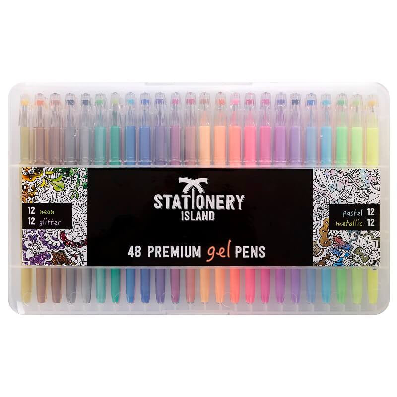 Gel Pens Pack Of 48 | Pastel, Glitter, Metallic & Neon Colours