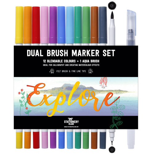 Dual Brush Marker Set 12 +1 Aqua Brush | Essential Colours