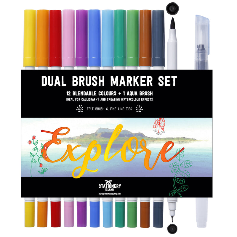 Dual Brush Marker Pack Of 12 +1 Aqua Brush | Essential Colours