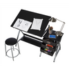 ICARIA Drafting Table For Arts And Crafts | Wood | With Storage, Stool & Clips