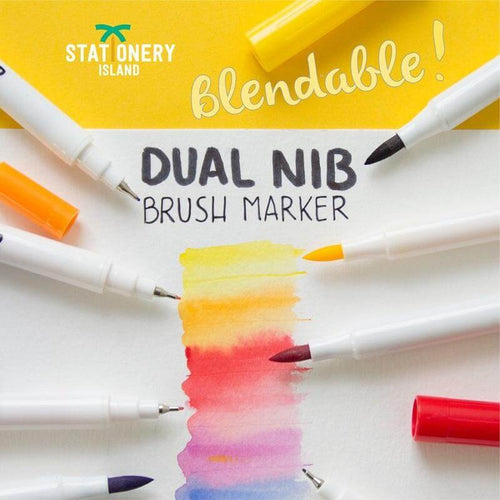 Dual Brush Marker Set of 12 +1 Innovative Aqua Brush