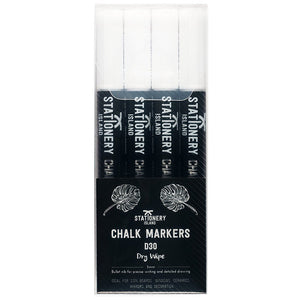 Chalk Pens Pack Of 4 White | Dry Wipe | 3mm Fine Nib
