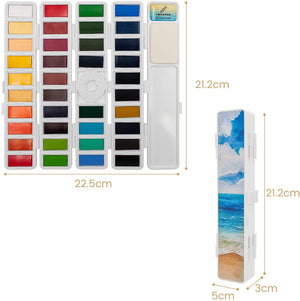 Ezigoo | Watercolour Paints Set Of 38 Colours + 1 Aqua Brush | Folding