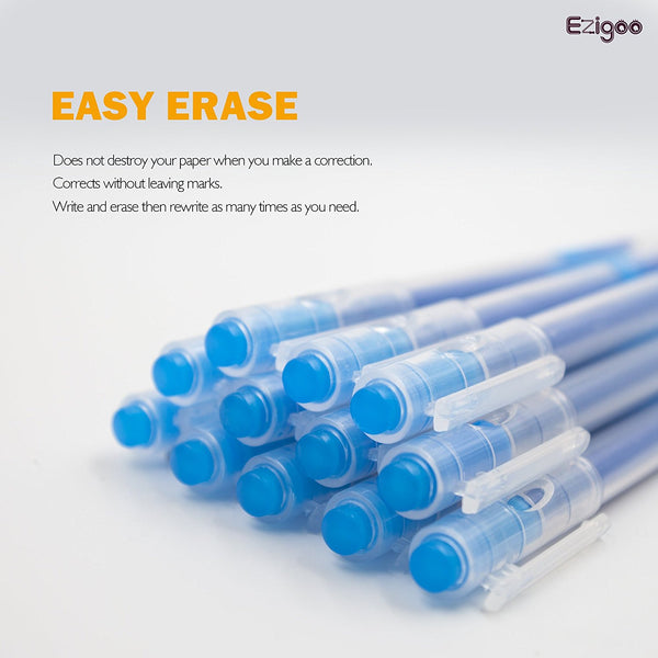 Ezigoo | Erasable Pens Pack Of 12 | Blue | Friction