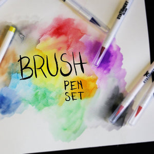 Brush Pens Pack Of 12 + 1 Aqua Brush | Essential Colours