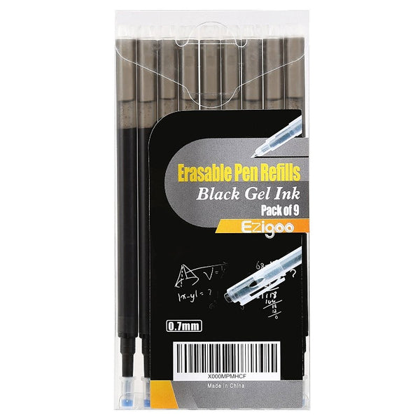 Ezigoo | Erasable Pen Refills Pack Of 9 | Black