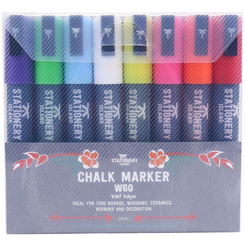 Stationery Island Chalk Pens W60 Wet Wipe 6mm Nib 8 Colours