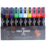 Chalk Pens Pack Of 10 Colours | Dry Wipe | 6mm Chisel Nib