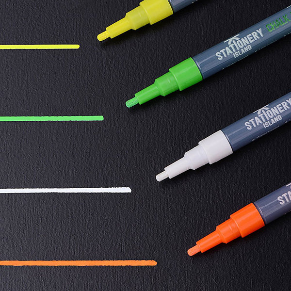 Chalk Pens Pack Of 8 Colours | Wet Wipe | 3mm Fine Nib