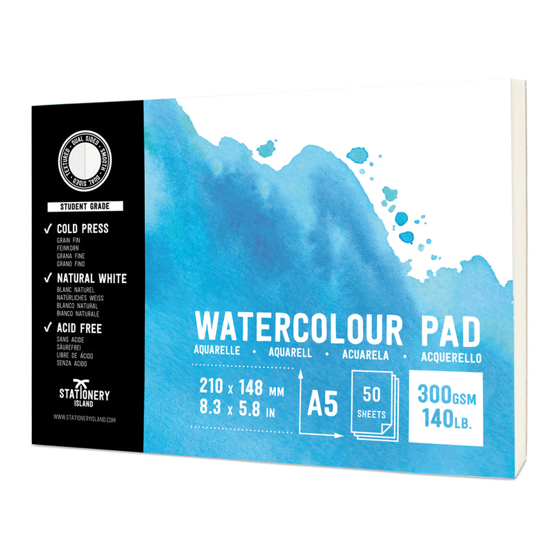 Watercolour Paper | Student Grade | A5 | 300gsm Paper | 50 Pages
