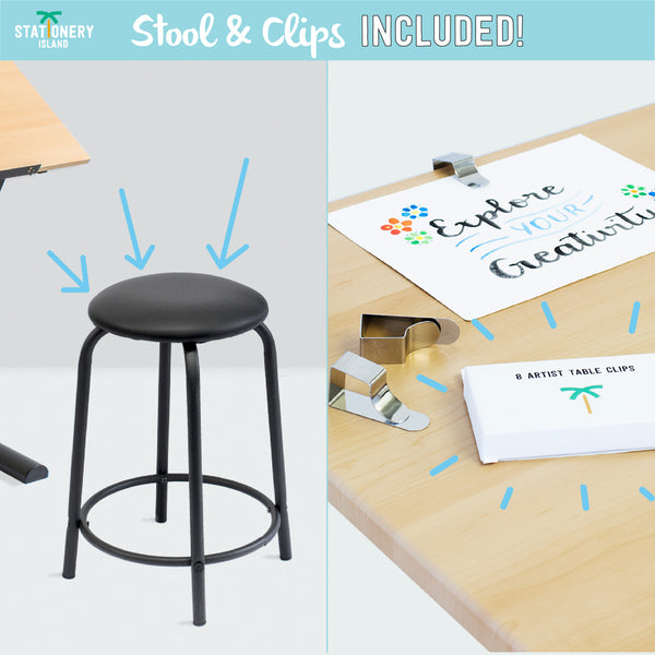 CAYE Drafting Table for Arts and Crafts – 8 Drawing Clips INCLUDED!