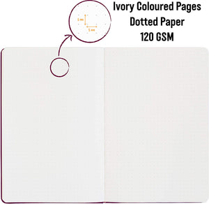 Bullet Journal | A5 Dotted Notebook | Hardcover | 120gsm Paper | 180 Pages | Berry