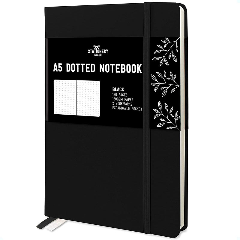 Bullet Journal | A5 Dotted Notebook | Hardcover | 120gsm Paper | 180 Pages | Black