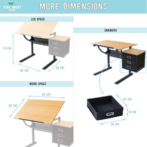 CAYE Drafting Table For Arts And Crafts | Wood | With Storage, Stool & Clips