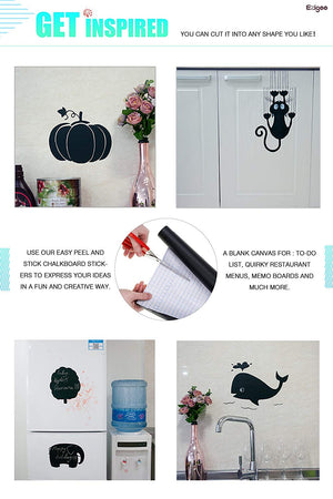 Ezigoo | Chalkboard Sticker Pack Of 2 | 43cm x 210cm | 10pcs Of Chalk