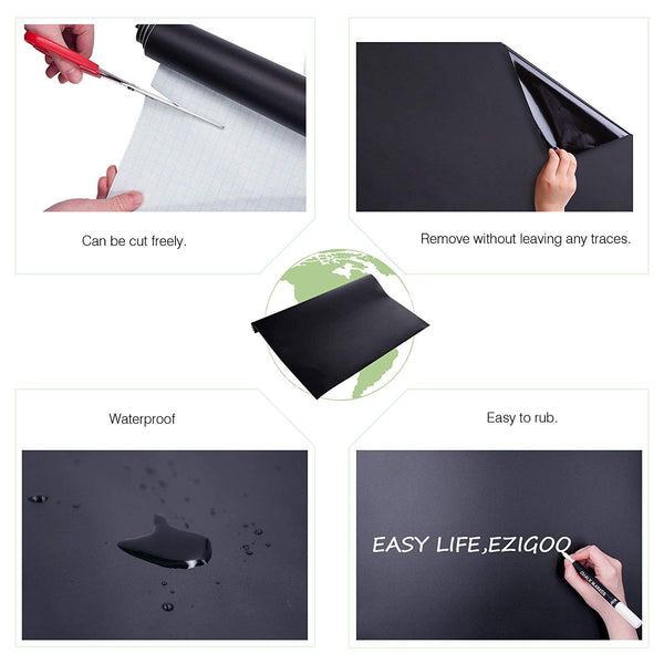 Ezigoo | Chalkboard Sticker Pack Of 1 | 43cm x 210cm | 1 Chalk Pen