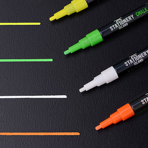 Chalk Pens Pack Of 10 Colours | Dry Wipe | 3mm Fine Nib