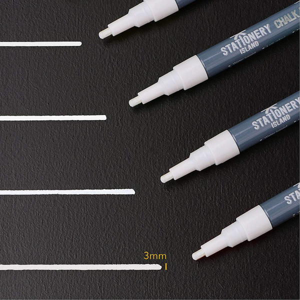 Chalk Pens Pack Of 4 White | Wet Wipe | 3mm Fine Nib