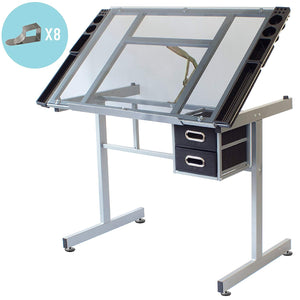 DUNBAR Drafting Table For Arts And Crafts | Glass | With Storage, Wheels & Clips
