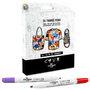 Fabric Pens Pack Of 24 | Permanent | 1mm & 2mm Nibs | Essential Colours