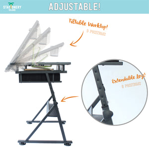 FOULA Drafting Table For Arts And Crafts | Wood | With Storage, Stool & Clips