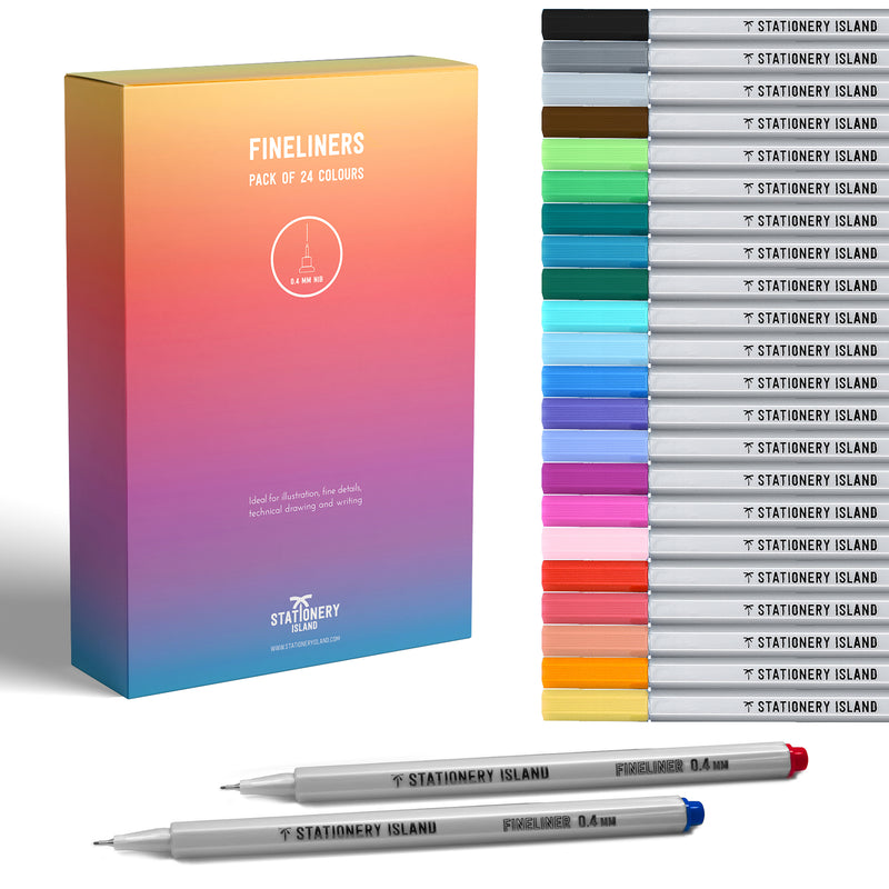 Fineliners Pack Of 24 | Assorted Colours | 0.4mm Nib