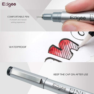 Ezigoo | Fineliners Pack Of 10 Nib Sizes | Black