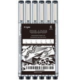 Ezigoo | Fineliners Pack Of 6 Nib Sizes | Black