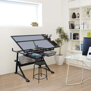 FOULA-TP2 Drafting Table For Arts And Crafts | Glass | With Storage, Stool & Clips