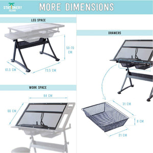 FOULA-TP Drafting Table For Arts And Crafts | Glass | With Storage, Stool & Clips