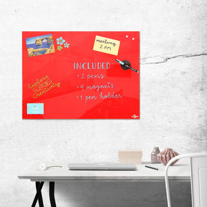 Magnetic Glass Board | 60 x 45cm | Red