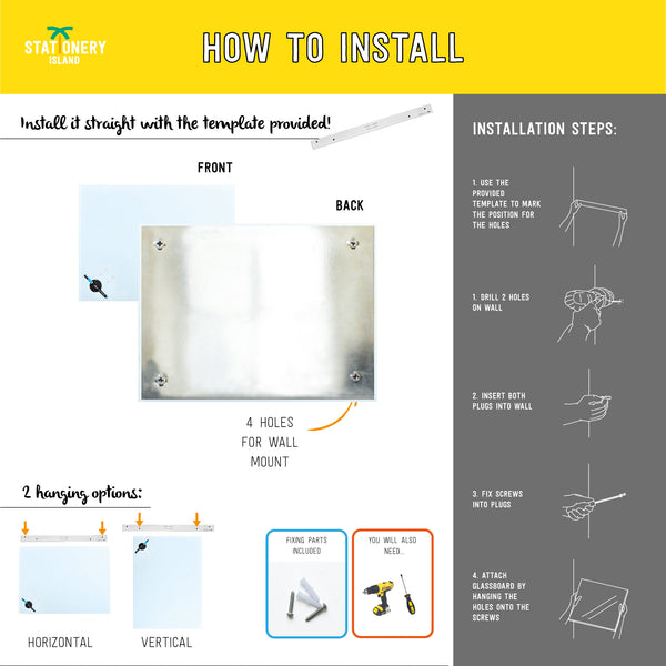 Magnetic Glass Board | 60 x 45cm | White