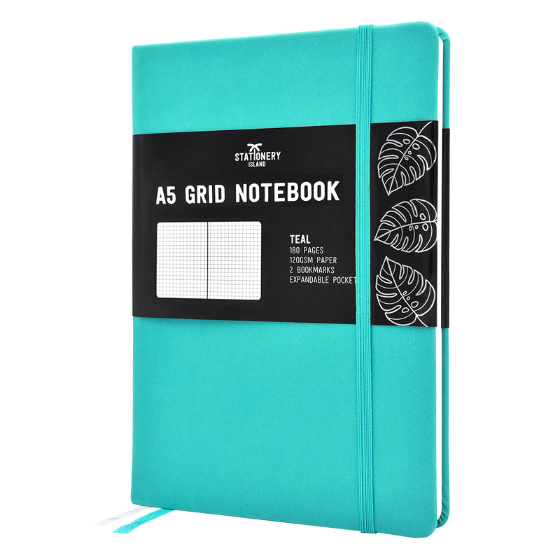Grid Journal | A5 Squared Notebook | Hardcover | 120gsm Paper | 180 Pages | Teal