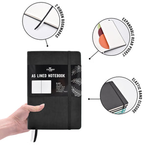 Lined Journal | A5 Narrow Ruled Notebook | Hardcover | 120gsm Paper | 180 Pages | Black