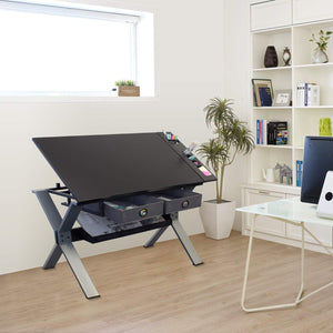 NAURU Drafting Table For Arts And Crafts | Wood | With Storage, Stool & Clips