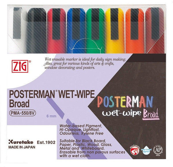 Kuretake | ZIG Posterman Chalk Pens Pack Of 8 Colours | Wet Wipe | 6mm Broad Nib