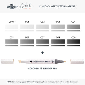Sketch Markers Pack Of 11 | Cool Grey Colours