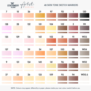 Sketch Markers Pack Of 48 | Skin Tone Colours