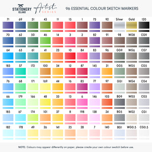 Sketch Markers Pack Of 96 | Essential Colours