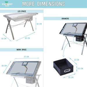 SABA-TP Drafting Table For Arts And Crafts | Glass | With Storage, Stool & Clips