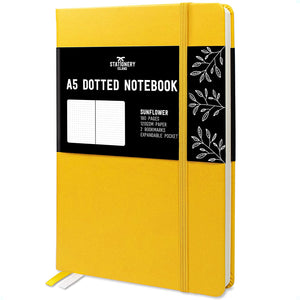 Bullet Journal | A5 Dotted Notebook | Hardcover | 120gsm Paper | 180 Pages | Sunflower