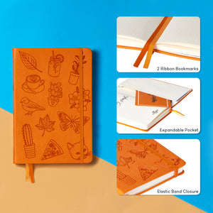 Bullet Journal | Surely Simple | A5 Dotted Notebook | Hardcover | 120gsm Paper | 180 Pages | Orange