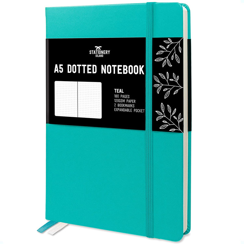 Bullet Journal | A5 Dotted Notebook | Hardcover | 120gsm Paper | 180 Pages | Teal