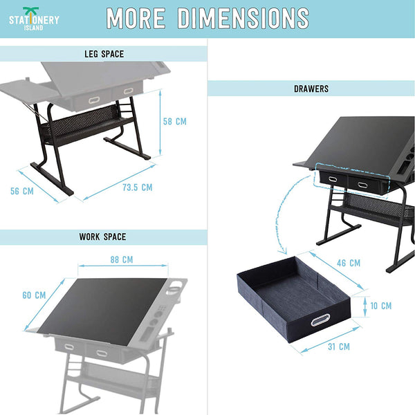 TIREE Drafting Table For Arts And Crafts | Wood | With Storage, Stool & Clips