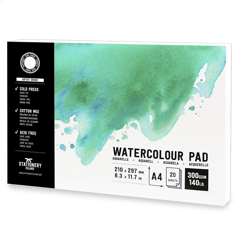 Watercolour Paper | Artist Grade | A4 | 300gsm Paper | 20 Pages